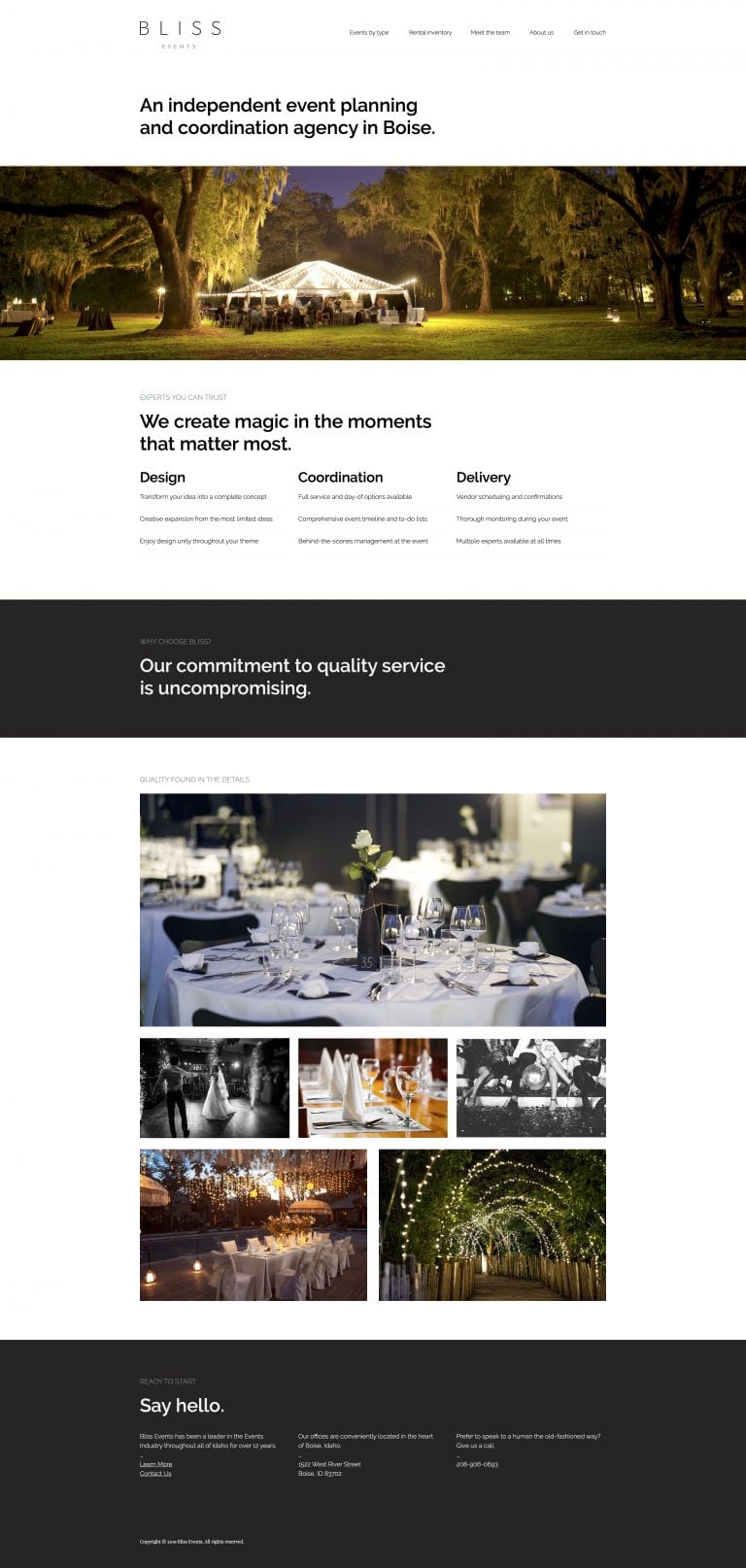 Bliss Events website concept