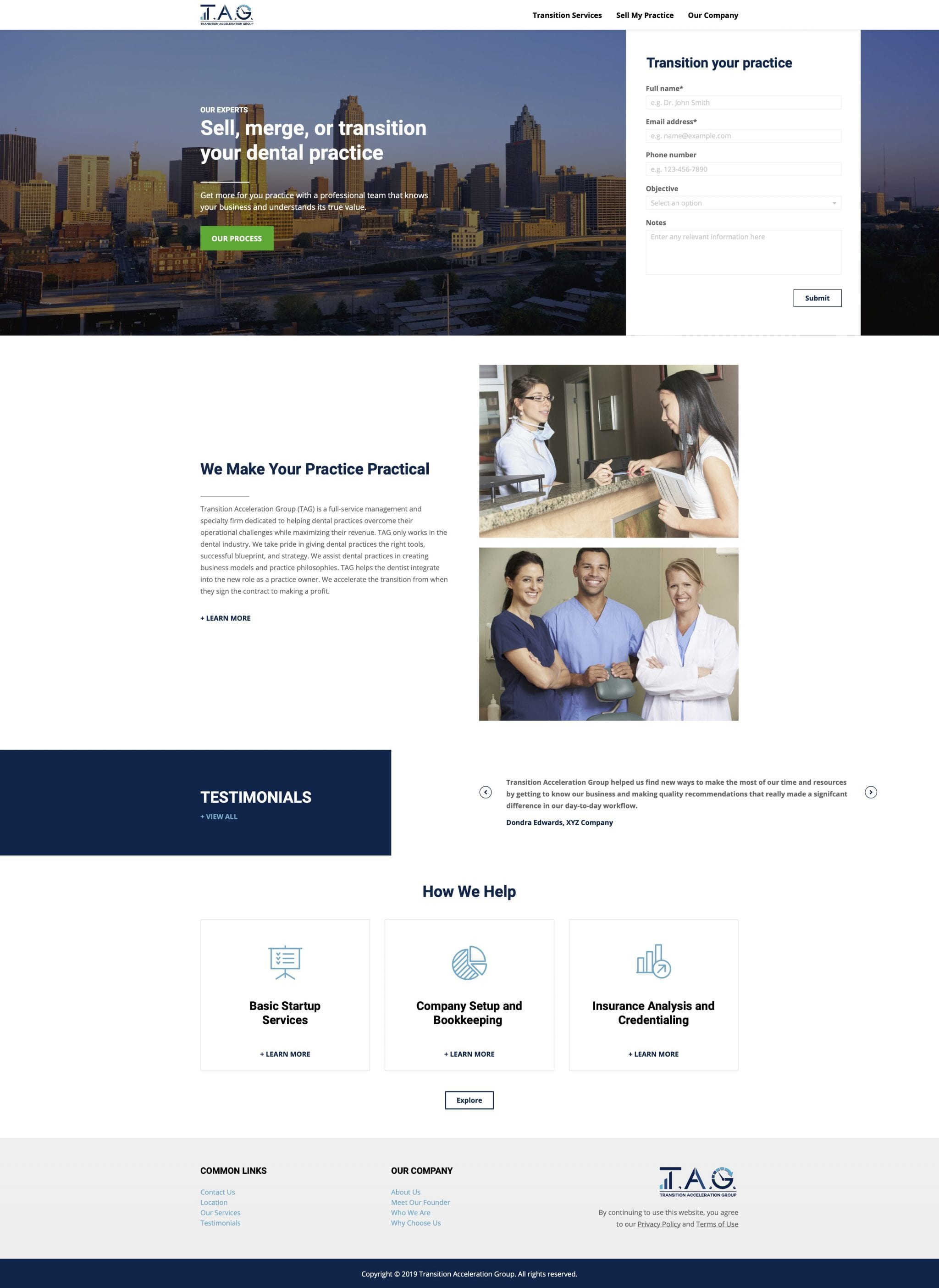 Transition Acceleration Group – Website Renderings